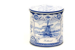 Can. Closed blue and white can with a lid containing dutch stroopwafels Stock Photos