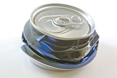 Can. A crushed can ready to be recycled Royalty Free Stock Photography