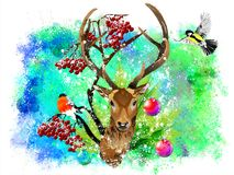 Christmas card with a deer on an abstract background. stock photos