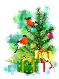 Winter illustration with bullfinches on an abstract watercolor background. royalty free stock photo