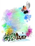 Winter illustration with bullfinches on an abstract watercolor background. It can be used as Christmas and New Year greeting cards, posters, covers, etc royalty free illustration