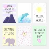 Birthday cards with quotes, cartoon dolphin and elephant for baby girl and kids. A new adventure awaits. Hello world. Dream big li vector illustration
