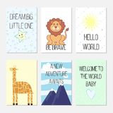 Birthday cards with quotes, cartoon leo and giraffe for baby boy and kids. Dream big little one. Be brave. Hello world. stock illustration