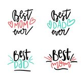 Set of Best Mom Ever quotes. Quote Saying Best Mom for greeting card design. Happy Mother`s Day Typography Lettering design. royalty free stock photo