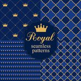 Set of royal seamless vector patterns with crowns. Royalty Free Stock Image