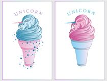 Seamless pattern with surreal unicorn which emerge from ice cream cone. royalty free illustration