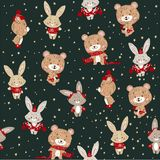 Seamless vector pattern with cute bunny and bear in scarf and hat. Can be used for wallpaper, pattern fills, web page background, stock illustration