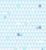 Nautical seamless vector pattern with lighthouses, ships, clouds and mountains on abstract geometric triangles background. stock illustration