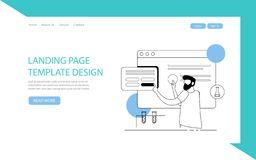 Landing Page Template. Vector background with abstract elements: planets, moon, stars. Vector illustration. Can be used for websited homepage banner, header stock illustration