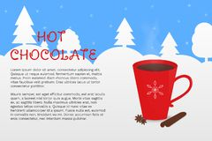 Cozy vector illustration with red cup of cocoa and winter forest on the background. stock illustration