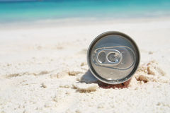 Can on beach Royalty Free Stock Image