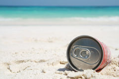 Can on beach Royalty Free Stock Images