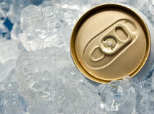 Can of beer in ice Stock Image