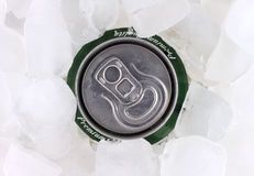 Can of beer in ice Stock Images