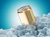 Can of Beer in Ice Cubes Royalty Free Stock Images