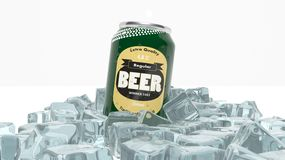 Can of beer in ice cubes Royalty Free Stock Photography