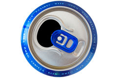 Can with beer names in different languages Royalty Free Stock Photo