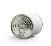 Can with blank white label  on white Stock Photo