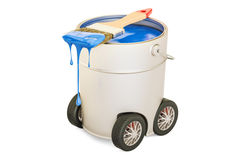 Can with blue paint and brush on the car wheels, 3D rendering. On white background Stock Images