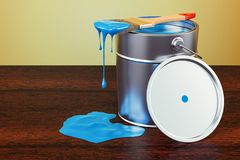 Can with blue paint and brush on the wooden table. 3D rendering. Can with blue paint and brush on the wooden table. 3D Stock Photography