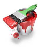Can with brush. (3D illustration over white background Royalty Free Stock Photos