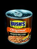 Can of Bush`s Original Baked Beans on a Black Backdrop Stock Photo