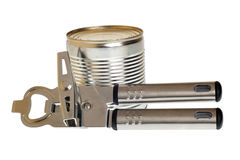 Can with can opener. Tin opener opening a can of food isolated on white Stock Image