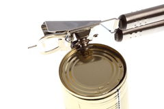Can with can opener Stock Photos