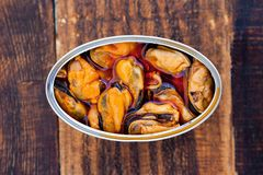 Can of canned mussels Royalty Free Stock Photography