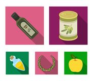 A can of canned olives, a bottle of oil with a sticker, an olive wreath, a glass jar with a cork. Olives set collection. Icons in flat style vector symbol stock stock illustration