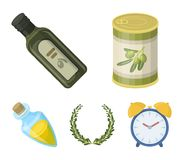 A can of canned olives, a bottle of oil with a sticker, an olive wreath, a glass jar with a cork. Olives set collection. Icons in cartoon style vector symbol stock illustration