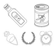 A can of canned olives, a bottle of oil with a sticker, an olive wreath, a glass jar with a cork. Olives set collection. Icons in outline style vector symbol stock illustration
