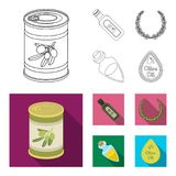 A can of canned olives, a bottle of oil with a sticker, an olive wreath, a glass jar with a cork. Olives set collection. Icons in outline,flat style vector vector illustration