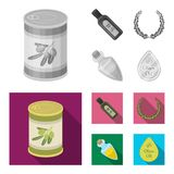 A can of canned olives, a bottle of oil with a sticker, an olive wreath, a glass jar with a cork. Olives set collection. Icons in monochrome,flat style vector royalty free illustration