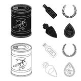 A can of canned olives, a bottle of oil with a sticker, an olive wreath, a glass jar with a cork. Olives set collection. Icons in black,outline style vector royalty free illustration