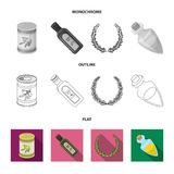 A can of canned olives, a bottle of oil with a sticker, an olive wreath, a glass jar with a cork. Olives set collection. Icons in flat,outline,monochrome style vector illustration