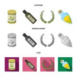 A can of canned olives, a bottle of oil with a sticker, an olive wreath, a glass jar with a cork. Olives set collection. Icons in cartoon,flat,monochrome style stock illustration