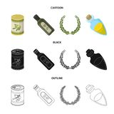 A can of canned olives, a bottle of oil with a sticker, an olive wreath, a glass jar with a cork. Olives set collection. Icons in cartoon,black,outline style vector illustration