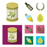 A can of canned olives, a bottle of oil with a sticker, an olive wreath, a glass jar with a cork. Olives set collection. Icons in cartoon,flat style vector vector illustration