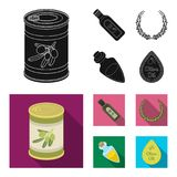A can of canned olives, a bottle of oil with a sticker, an olive wreath, a glass jar with a cork. Olives set collection. Icons in black, flat style vector royalty free illustration