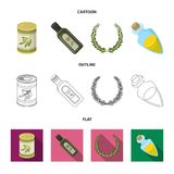 A can of canned olives, a bottle of oil with a sticker, an olive wreath, a glass jar with a cork. Olives set collection. Icons in cartoon,outline,flat style royalty free illustration