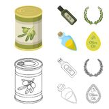 A can of canned olives, a bottle of oil with a sticker, an olive wreath, a glass jar with a cork. Olives set collection. Icons in cartoon,outline style vector vector illustration