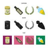 A can of canned olives, a bottle of oil with a sticker, an olive wreath, a glass jar with a cork. Olives set collection. Icons in cartoon,black,flat style stock illustration