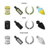 A can of canned olives, a bottle of oil with a sticker, an olive wreath, a glass jar with a cork. Olives set collection. Icons in cartoon,black,monochrome style vector illustration
