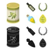 A can of canned olives, a bottle of oil with a sticker, an olive wreath, a glass jar with a cork. Olives set collection. Icons in cartoon,black style vector stock illustration