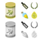 A can of canned olives, a bottle of oil with a sticker, an olive wreath, a glass jar with a cork. Olives set collection. Icons in cartoon,monochrome style stock illustration