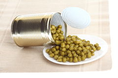 Can with canned, tinned peas, Royalty Free Stock Images