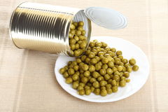 Can with canned, tinned peas, Stock Photos