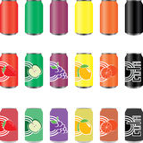 Can. S of soft drinks, juices of many colors Royalty Free Stock Image