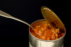 Can of Chili With Spoon Royalty Free Stock Images
